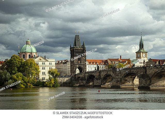 Autumn afternoon on Vltava river in Prague