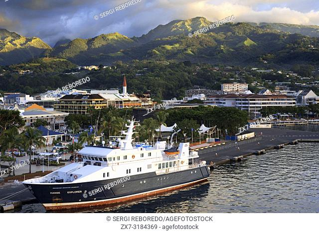 Hanse explorer docked in Papeete harbour. Tahiti, French Polynesia, Papeete's harbour, Tahiti Nui, Society Islands, French Polynesia, South Pacific