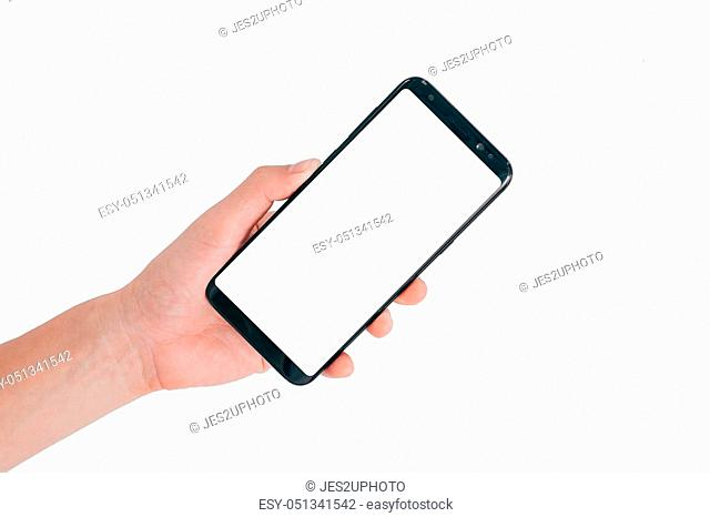 Smartphone Mock up, Hand holding blank white screen mobile phone isolated on white background with clipping path for ui app design