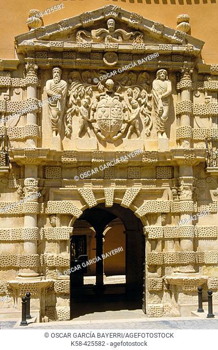 Condes de Cirat Palace (Casa Grande). XVIth century mannerist style building. Main façade. Almansa. Castilla la Mancha. Albacete. Spain