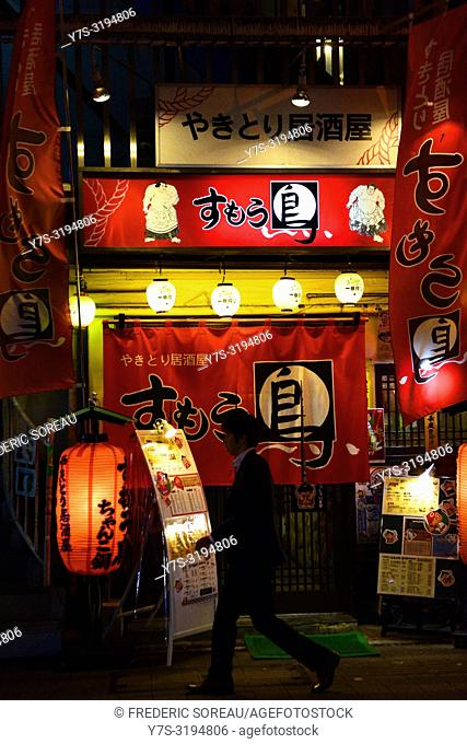 Japanese restaurant doors at night in Hiroshima, Japan, Asia