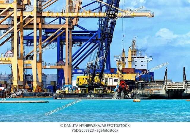 Africa, Mauritius, Port Louis Harbor, container terminal