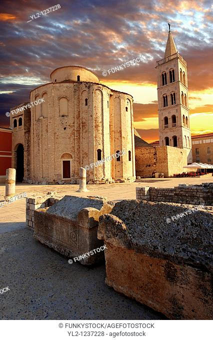 The The pre-Romanesque Byzantine St Donat's Church & the campanile bell tower of the St Anastasia Cathedral, Zadar, Croatia