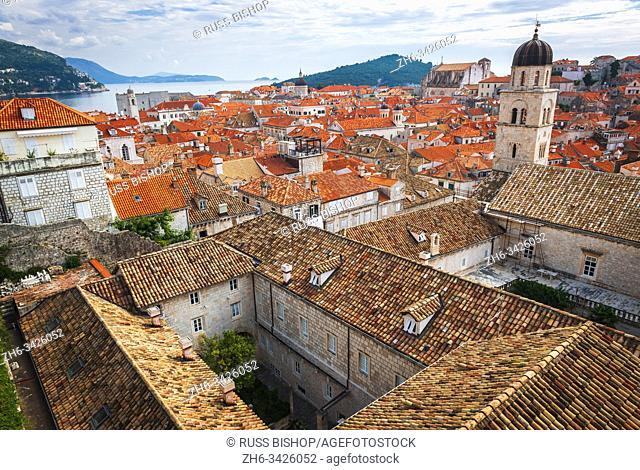 Red tile roofs from the ancient city wall, old town Dubrovnik, Dalmatian Coast, Croatia