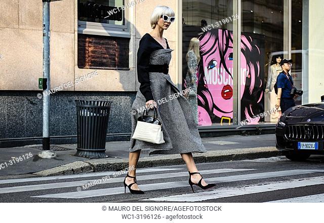 MILAN, Italy- September 20 2018: Samantha Angelo on the street during the Milan Fashion Week