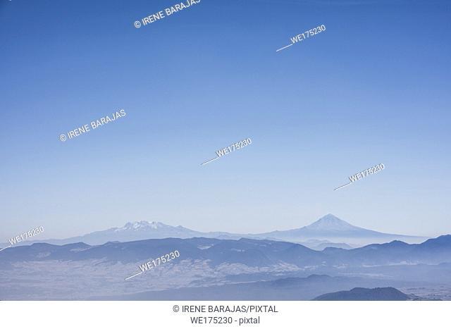 Two volcanoes seen from the Nevado de Toluca, Mexico