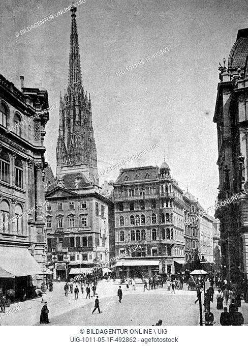 One of the first autotype prints, stephansplatz square, historic photograph, 1884, vienna, austria, europe