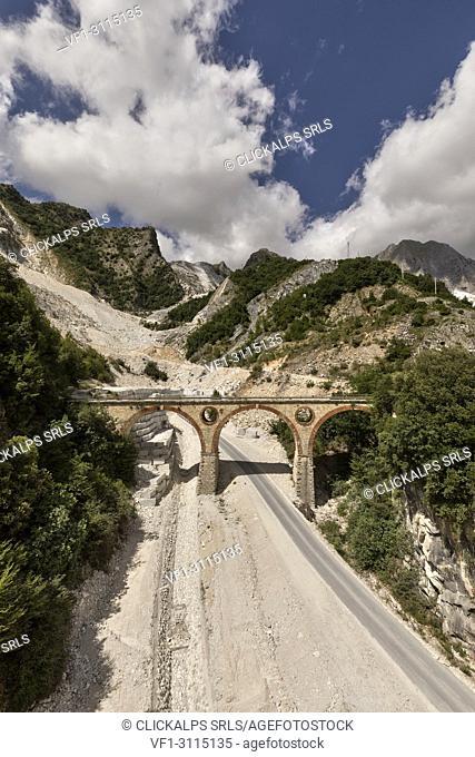 Fantiscritti bridge, marble quarry of Carrara, municipality of Carrara, Massa Carrara province, Tuscany, Italy, western Europe