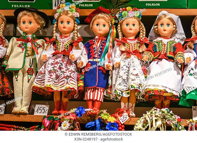 Collection of dolls dressed in traditional Polish clothing for sale, Krak—w, Lesser Poland Voivodeship, Poland