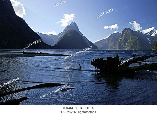 View of mountains and fiord Milford Sound, Fiordland National Park, South Island, New Zealand, Oceania