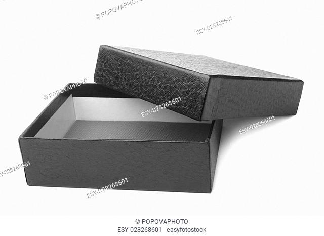 Open black box on white background