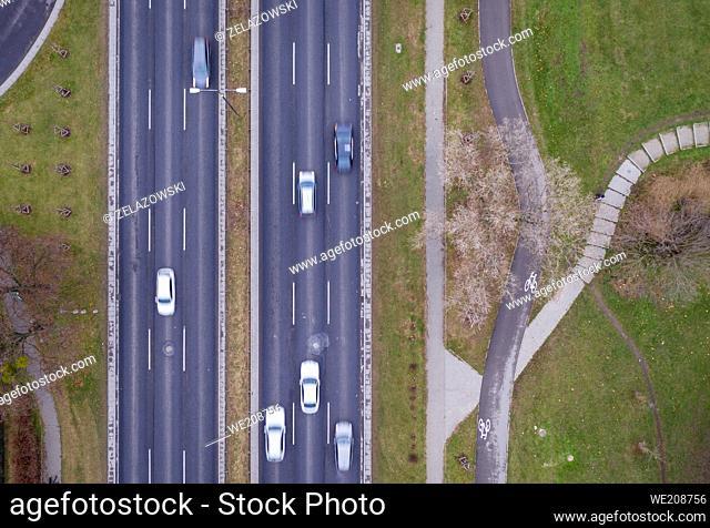 Drone view of Aleja Prymasa Tysiaclecia street in Wola district of Warsaw city, Poland