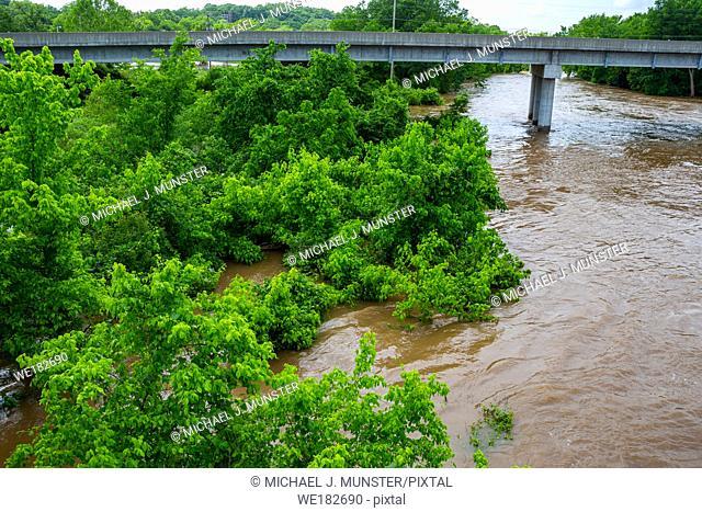 Shoal Creek flooding in Joplin, Missouri on May 23, 2019 from Redings Mill Bridge