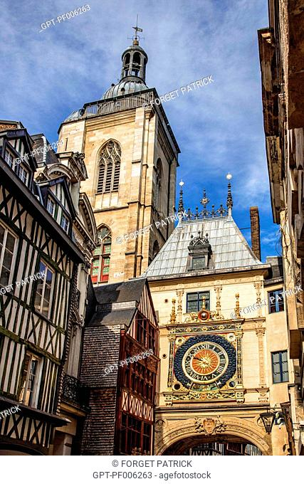 THE BELFRY AND THE ASTRONOMICAL CLOCK, RUE DU GROS HORLOGE, ROUEN (76), FRANCE