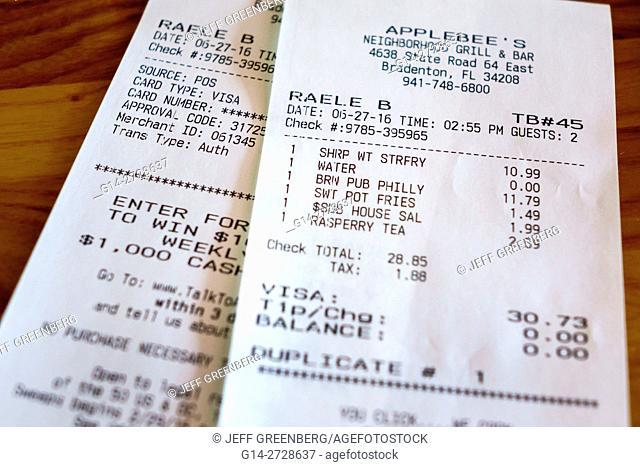 Florida, Bradenton, Applebee's Neighborhood Grill and Bar, restaurant, chain, casual dining, itemized bill, check, price, total, tip, tax