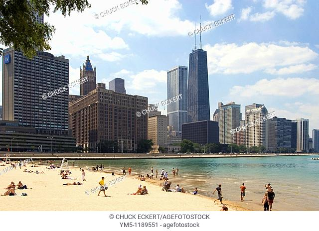 Chicago's Ohio St Beach & Skyline. Tallest building is the John Hancock Center on Michigan Avenue. This beach is sometimes prone to closings due to storm...