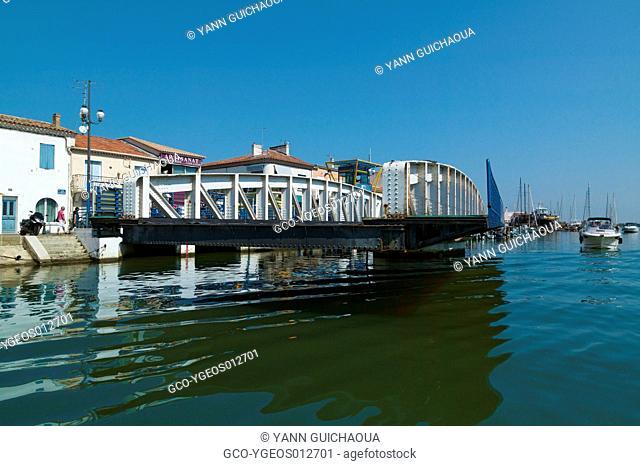 Swing Bridge At Le Grau Du Roi, Gard,Languedoc-Roussillon, France