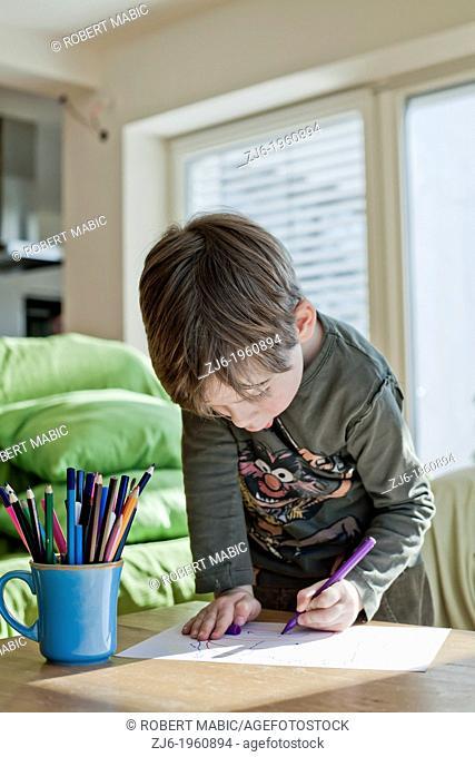 Boy draws with crayons indoor