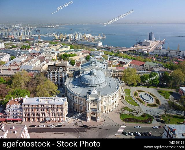 Aerial view, Odessa National Academic Theatre of Opera and Ballet. Odessa, Ukraine, Eastern Europe