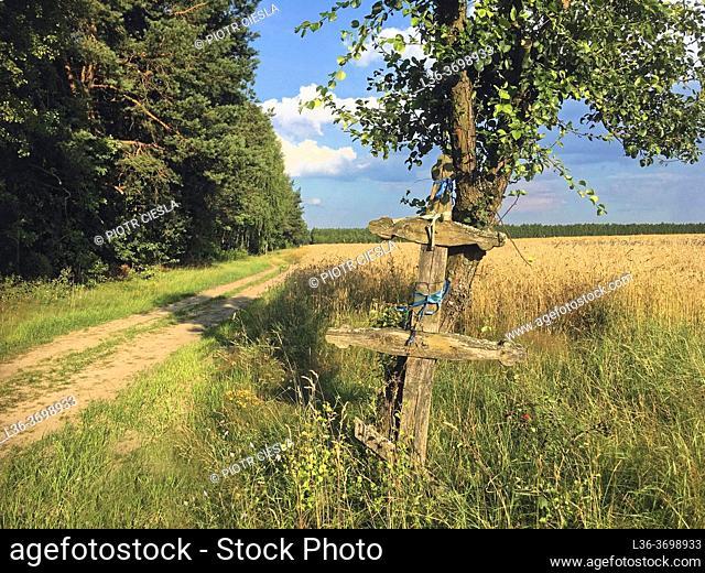 Poland. Podlasie region. Wooden orthodox cross
