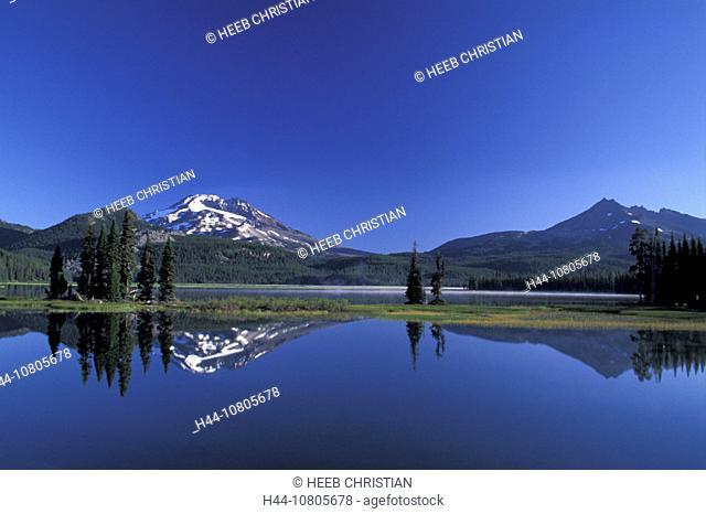 Deschutes, National Forest, Oregon, Sparks Lake, South Sister, USA, America, United States, landscape, lake, mountai