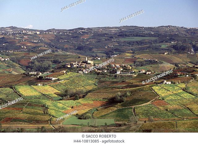 village, wine, vineyard, cultivation, outhouse, agriculture, scenery, landscape, hill, fields, series, picture series