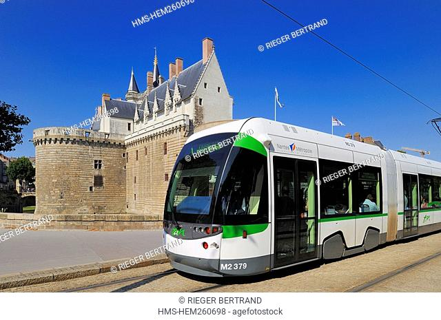 France, Loire Atlantique, Nantes, Chateau des Ducs de Bretagne Dukes of Brittany Castle, tram of the TAN public trasportation of Nantes and its suburds