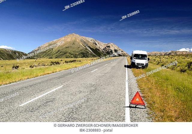 White van parked on the roadside, breakdown triangle, breakdown, Craigieburn Range, Canterbury, South Island, New Zealand, Oceania
