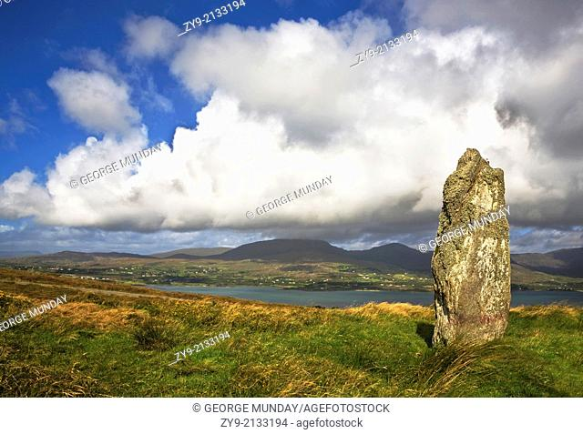 Standing Stone on Bear Island, Beara Peninsula, County Cork, Ireland