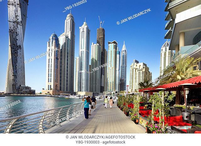 Dubai Marina - promenade in Marina district, Dubai, United Arab Emirates