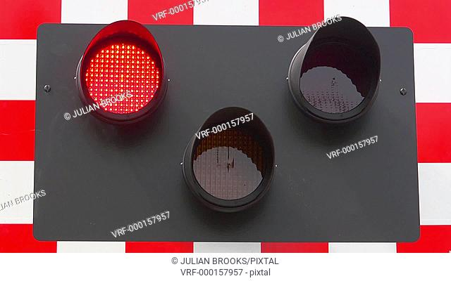 railway safety. flashing red lights at a level crossing, seamless loop 4:2:2