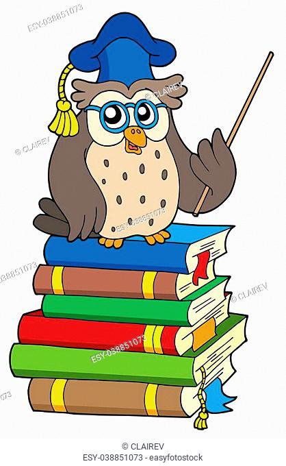 Owl teacher and books - isolated illustration