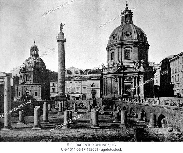 One of the first autotype photographs of trajan's forum, rome, italy, circa 1880