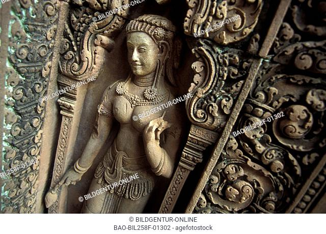 A stone figure in the Banteay Srei temple in the ruins city of Angkor in Cambodia in southeast Asia