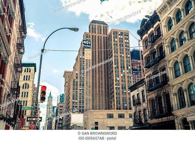 View of buildings and Broadway street sign, Manhattan, New York, USA