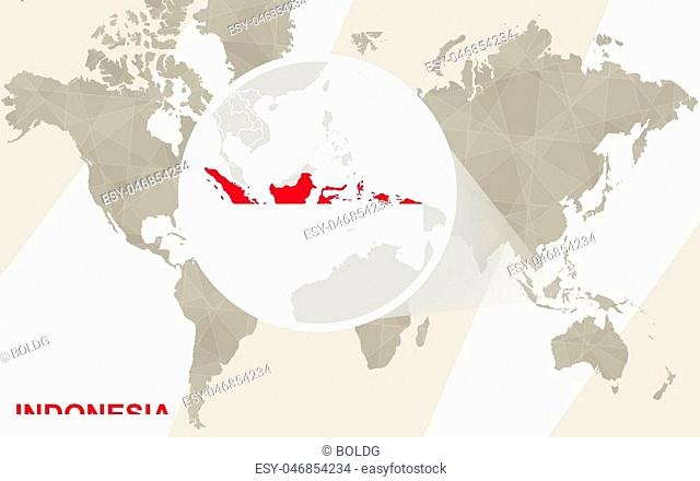 Zoom on Indonesia Map and Flag. World Map