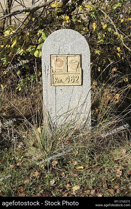Kilometric milestone. Signposting of the Way to Santiago de Madrid in Las Puentecillas, between Simancas and Ciguñuela. Valladolid. Castile and Leon