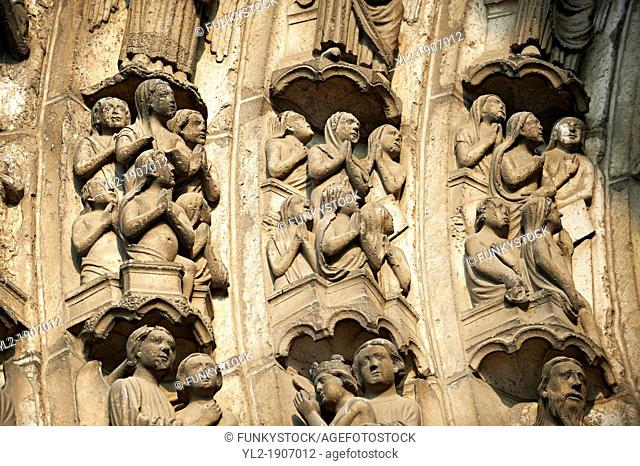 Medieval Gothic Sculptures of the South portal of the Cathedral of Chartres, France  The portal shaows the Last Judgement and the small figures represent 'The...