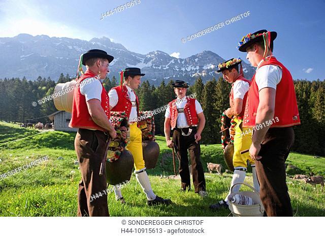 Tradition, folklore, national costumes, agriculture, national costumes, national costume party, canton Appenzell, Switzerland, Europe, Ausserrhoden