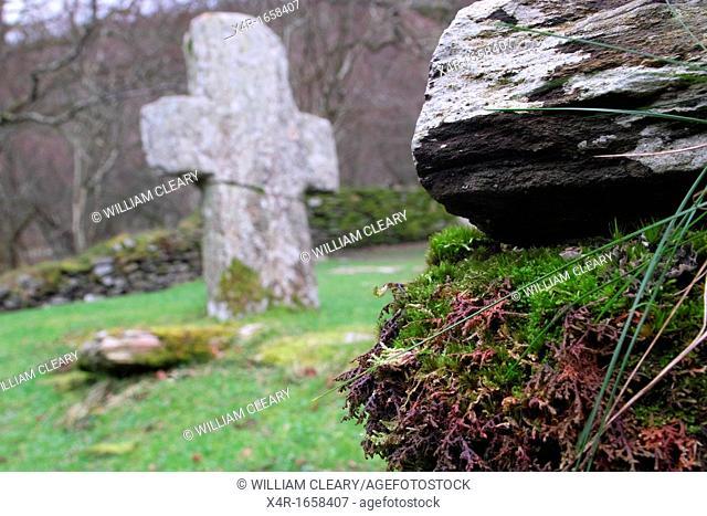 Stone cross at Glendalough, County Wicklow, Ireland