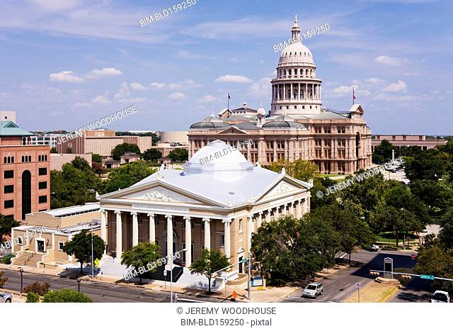 Texas Capitol Building in Austin cityscape, Texas, United States