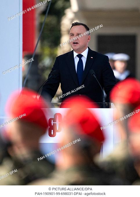 01 September 2019, Poland, Warschau: Polish President Andrzej Duda speaks at the central commemoration ceremony of the Republic of Poland on the 80th...