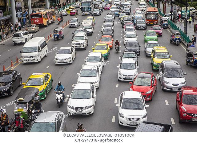 traffic jam on Ratchadamri Rd, Bangkok, Thailand
