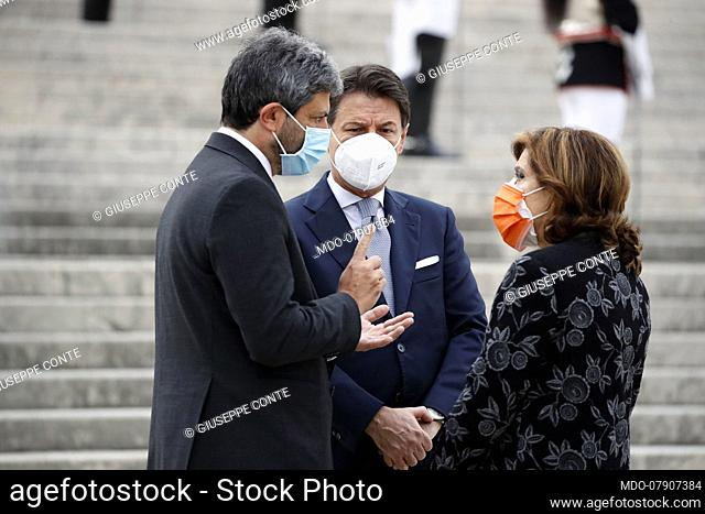 Prime Minister Giuseppe Conte and the Presidents of the Chamber and Senate Roberto Fico and Maria Elisabetta Alberti Casellati attends to National Unity and...