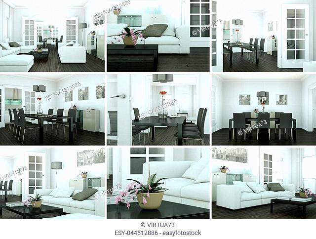 Set of modern Loft Interior design 3d Rendering