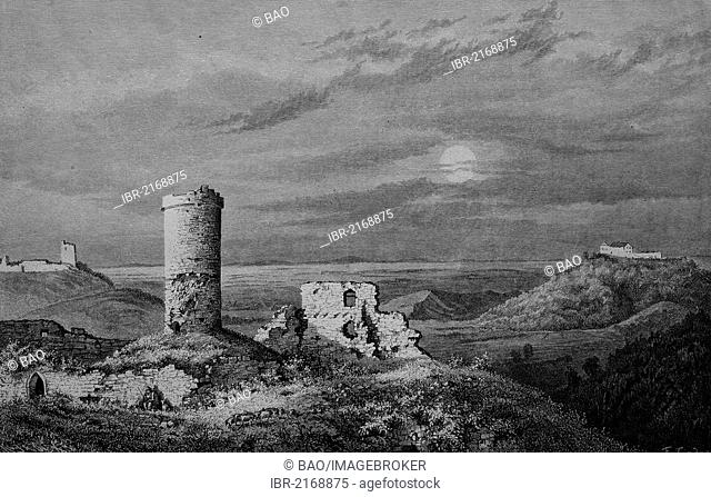 Drei Gleichen, a medieval castle ensemble, Thuringia, Germany, historical engraving, 1883