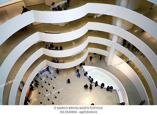 The dazzling interior of the Solomon Guggenheim Museum in Manhattan, New York City, USA
