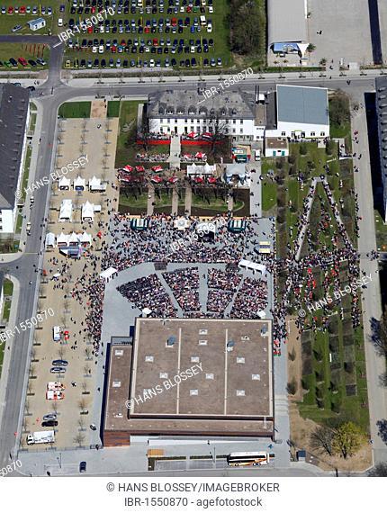 Aerial view, opening of the flower show 2010 in Hemer, Sauerland region, North Rhine-Westphalia, Germany, Europe