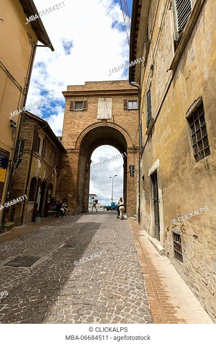 The medieval Porta di Santa Lucia a symbol of the ancient hill town Urbino Province of Pesaro Marche Italy Europe
