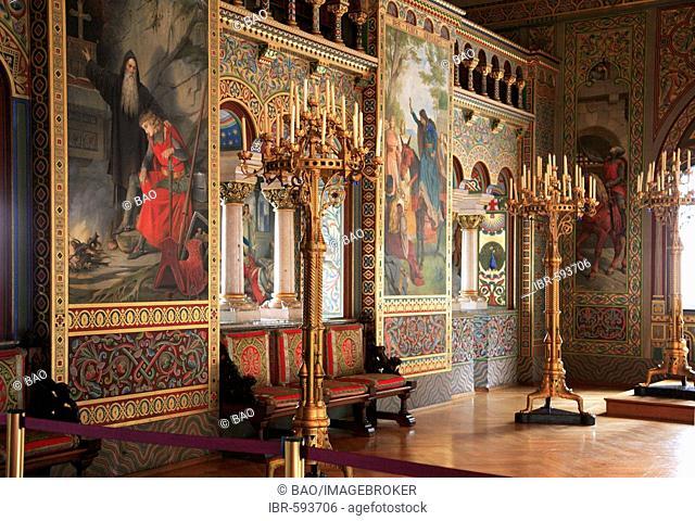 Room in Hohenschwangau Castle near Fuessen, Schwangau, Bavaria, Germany